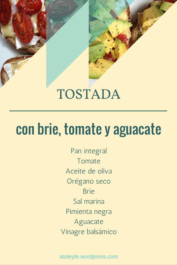 Ingredientes para un desayuno fácil: tostada con aguacate y tomates asados y brie