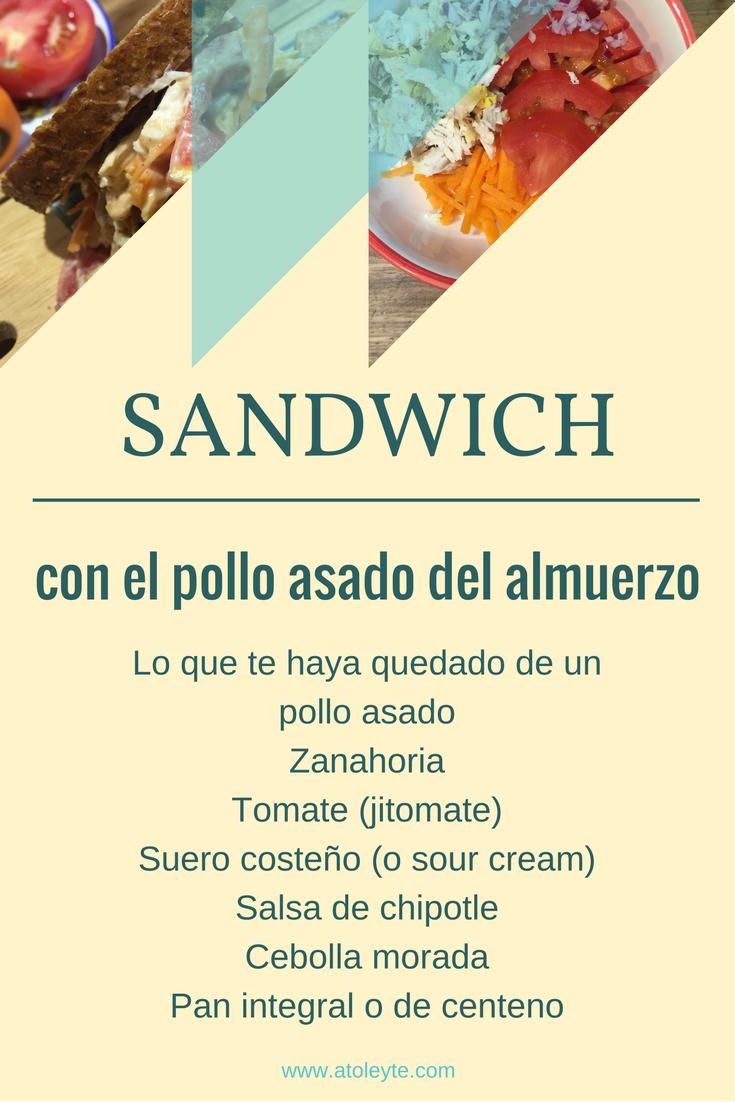 Sandwich con pollo asado